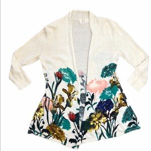 Anthro Moth floral open front sweater